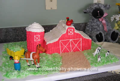 Farm Animal Baby Shower Barn Cake